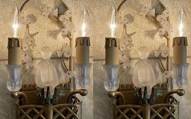 Pair Vintage Gilded Metal & Glass Wall Sconces with