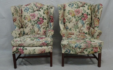 Pair of Floral Wing Back Chairs