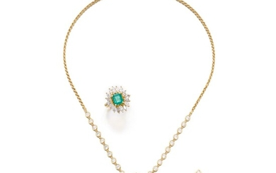 Pair of emerald and diamond earrings and necklace, Chatila, and a ring