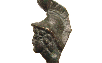 Roman bronze applique in the form of the head of Mars