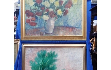 STILL LIFE, VASE OF FLOWERS, OIL ON CANVAS 20th century, and...