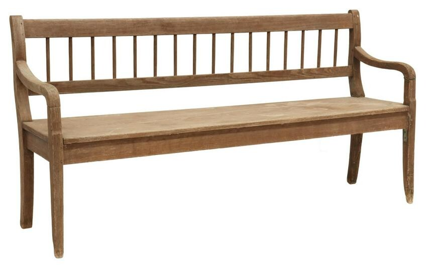 TEXAS SPINDLE BACK BENCH, EMIL SERGER, 19TH C.
