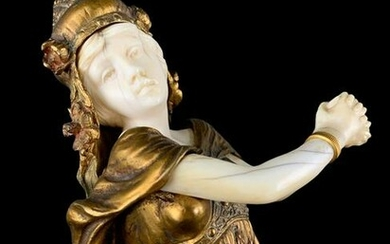 Theophile Somme Gilt Bronze Female Figure