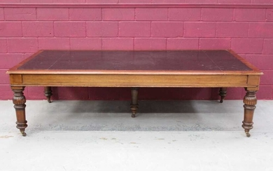 Very large late Victorian mahogany library table