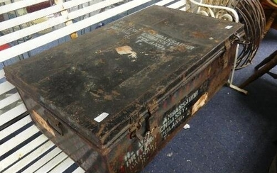 Vintage metal Trunk, London Made Trade Mark, painted red/bla...