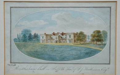 W. Hall (early 19th century) watercolour titled 'Rendlesham Hall in Suffolk' signed