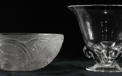(lot of 2) A Lalique France Pinsons frosted glass bowl