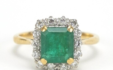 18ct gold emerald and diamond ring, the emerald approximatel...