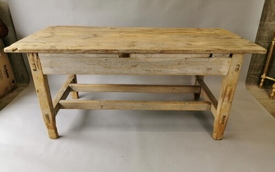 19th. C. stripped pine table raised on square legs and doubl...
