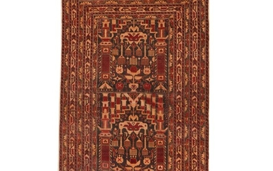 2'11 x 4'8 Hand-Knotted Persian Baluch Rug, 1950s