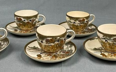 6 cups with saucers. Probably Satsuma Japan old.