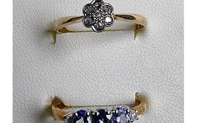 A 14k gold tanzanite and diamond ring, size N, and a gold an...