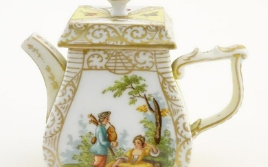 A Continental teapot of small proportions, with
