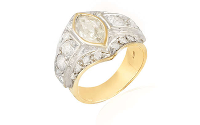 A DIAMOND DRESS RING The central collet-set old...