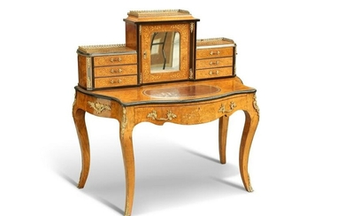 A FINE VICTORIAN GILT-METAL INLAID AND EBONISED BURR