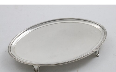 A GEORGE III NAVETTE-SHAPED SALVER with a reeded border and ...