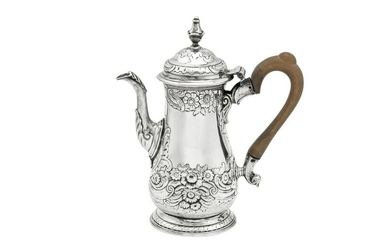 A George II provincial sterling silver bachelor coffee