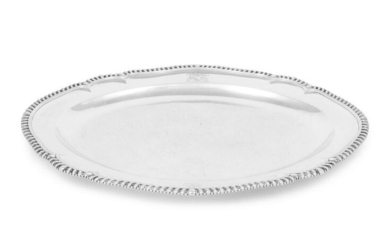 A George III Silver Tray with Engraved Crest and