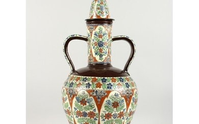 A LARGE TURKISH POTTERY TWO-HANDLED VASE AND COVER. 24ins hi...