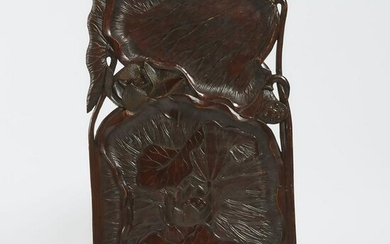 A Large Wood Carved 'Lotus' Sencha Tray, Meiji Period