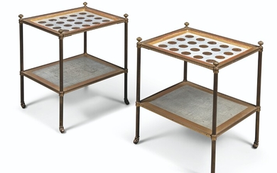 A PAIR OF BRASS, PAINTED AND PARCEL-GILT TWO-TIER LOW TABLES