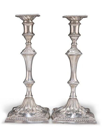 A PAIR OF GEORGE III CAST SILVER CANDLESTICKS, by John