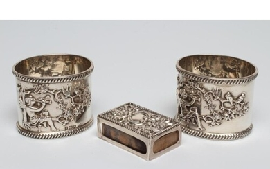 A PAIR OF LATE VICTORIAN SILVER NAPKIN RINGS, maker's mark C...