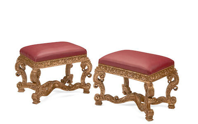 A PAIR OF REGENCE STYLE GILTWOOD STOOLS