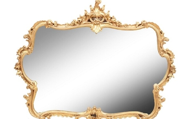 A carved giltwood wall mirror in Rococo taste