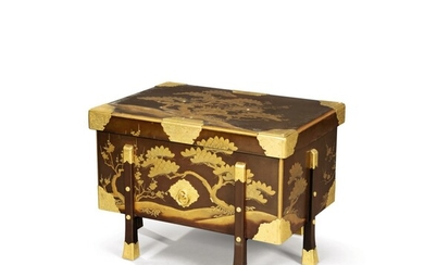 A gold lacquer and gilt-metal mounted lacquer chest, Karabitsu Japan, 19th-early 20th century