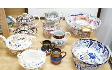 A group of 19th century English ceramics to include - three ...
