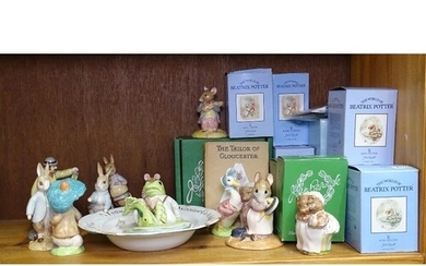 A group of boxed Beswick Beatrix Potter figures, a Victorian...