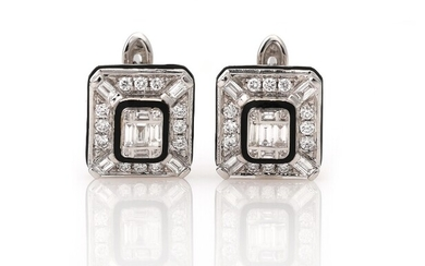 NOT SOLD. A pair of diamond ear pendants each set with numerous diamonds weighing a...