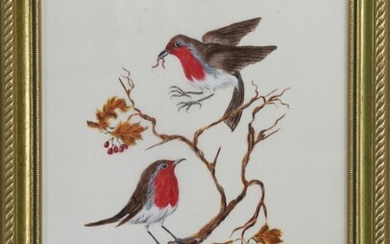 AMERICAN ROBINS, A WATERCOLOUR ON SILK BY LUCILLE FENTON
