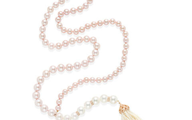 AN 18K ROSE GOLD, CULTURED PEARL AND DIAMOND TASSEL NECKLACE