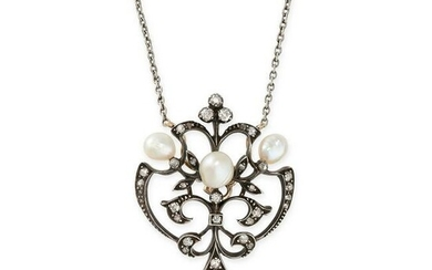 AN ANTIQUE PEARL AND DIAMOND PENDANT NECKLACE of open