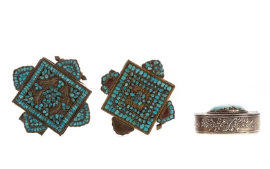 AN EARLY 20TH CENTURY SILVER AND TURQUOISE PILL BOX, ALONG WITH TWO OTHERS