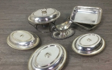 AN EARLY 20TH CENTURY SILVER PLATED SERVING DISH AND COVER