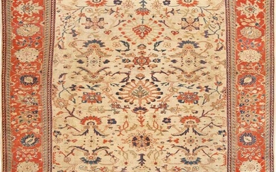 ANTIQUE PERSIAN SULTANABAD CARPET. 13 ft 9 in x 11 ft 9 in (4.19 m x 3.58 m).