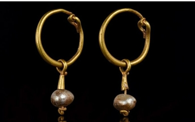 BYZANTINE GOLD AND PEARLS EARRINGS - XRF TESTED