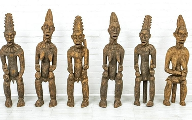 CAMEROON, AFRICAN CARVED WOOD FIGURES, 20TH C.
