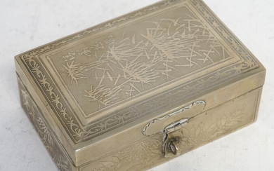 CHINESE EXPORT SILVER CIGARETTE BOX