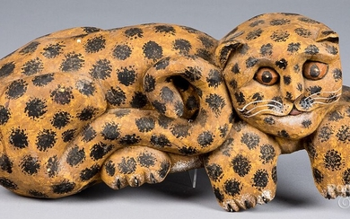 Carved and painted cat, signed P. Koosed 1984