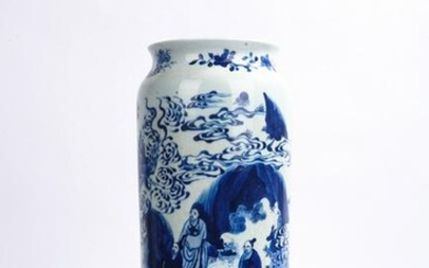 Chinese Blue and White Elders Figures Vase