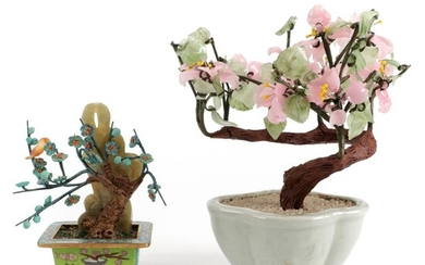 Chinese Dyed Glass and Carved Turquoise, Agate, and Serpentine Bonsai Trees