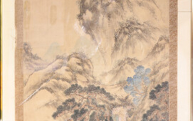 Chinese Landscape scroll painting, framed