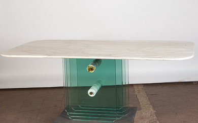 Dining table / table, marble and glass, Italy.