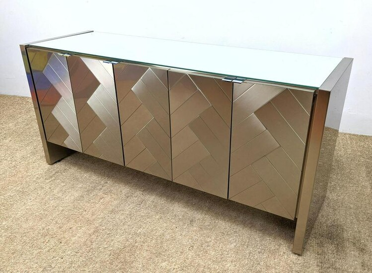 ELLO Mirror and Steel Sideboard Credenza. Matched angle