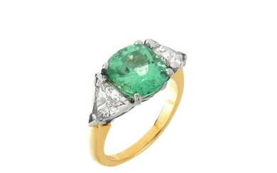 Emerald, Diamond, Platinum and 18K Ring