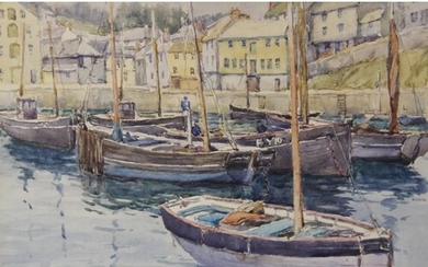 English school (20th century), Fishing boats in a harbour, ...